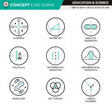 Concept Line Icons Set 11 Natural and formal sciences Royalty Free Stock Image