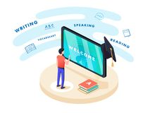 Concept on-line learning and teaching on theme of foreign languages. Student stands in front of gadget. Near textbooks at English, French and letters of Latin Stock Images