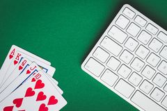 Concept of on-line poker game royalty free stock photos