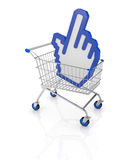 Concept of on line shopping. One shopping cart with a hand cursor icon (3d render Royalty Free Stock Photography