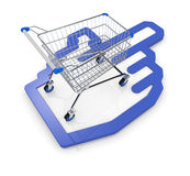 Concept of on line shopping. One shopping cart with a hand cursor icon (3d render Stock Photography