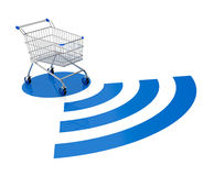 Concept of on line shopping. One shopping cart with a wireless symbol (3d render Stock Photos