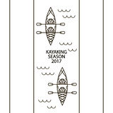 Concept of linear icons of kayaks Royalty Free Stock Photography