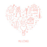 Concept from linear icons for Valentine's Day and the wedding day in the form of heart. Vector Stock Image