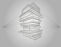 Concept linear sketch of books transformed to buildings Royalty Free Stock Photos