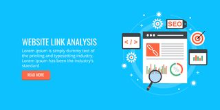 Website link analysis, data report for seo and promotion. Flat design banner. Concept of link analysis of a website, seo audit report, ranking result report Stock Images