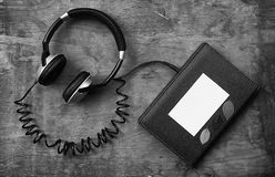 Concept of listening to audio books in the learning process Royalty Free Stock Image