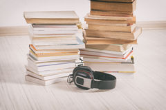 Concept of listening to audiobooks Stock Photography