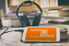 Concept of listening to audiobooks Royalty Free Stock Photos