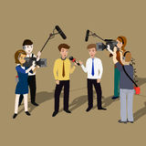 Concept live reports. Interviews, microphones in the hands of journalists. Live news template Stock Image
