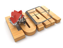 Concept of loan. House and mousetrap. Royalty Free Stock Photography