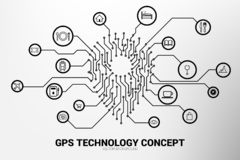 PrintLocation Pin mark icon and place around with circuit line graphic. Concept of location and facility place , GPS technology stock illustration