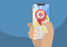 Concept of location / GPS based services on mobile devices. Current location symbol displayed on frameless touchscreen. Hand holding modern bezel-free vector illustration