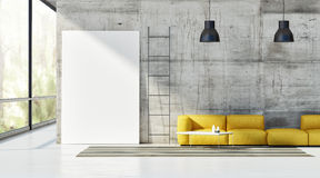 Concept of loft, mock up poster on concrete wall, Royalty Free Stock Photos