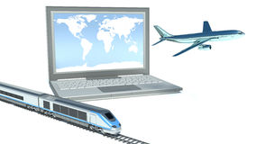 Concept of logistics. plane, train and laptop Stock Photos