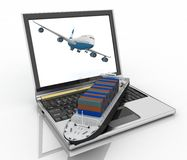 Concept of logistics. Shipping and transportation by air and water-carriage Royalty Free Stock Image