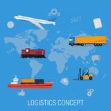 Concept of logistics transportation on world map Royalty Free Stock Photography