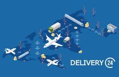 Concept logistique global isométrique de vecteur, illustration de carte du monde de la livraison illustration stock
