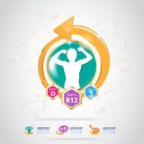 Concept Logo Gold Kids de calcium et de vitamine d'Omega Images stock