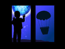 The concept of loneliness. Boy on the window. And a balloon for travel, flight up. Vector illustration for your design. Use for the site, print, postcards Royalty Free Stock Photography
