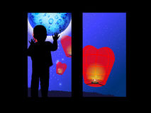 The concept of loneliness. Boy on the window. And Chinese lanterns. Vector illustration for your design. Use for the site, print, postcards, social networks Royalty Free Stock Photos