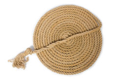 Concept with long hemp rope Royalty Free Stock Photo