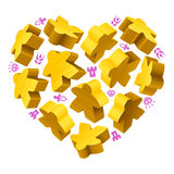 Concept of love by board games. Vector game pieces in the shape of heart. Yellow wooden meeples and resources counter icons isolated on white background. Concept vector illustration