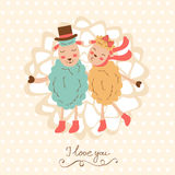 Concept love card with cute sheep couple Stock Photography