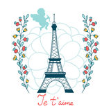 Concept love card with Eiffel tower and floral Royalty Free Stock Photography