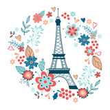 Concept love card with Eiffel tower and floral Royalty Free Stock Photos