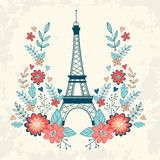 Concept love card with Eiffel tower and floral Stock Photography