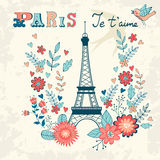 Concept love card with Eiffel tower and floral Royalty Free Stock Photo