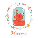 Concept love card with heart in jar and floral Stock Image