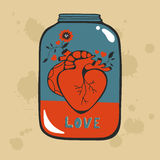 Concept love card with heart in jar Stock Photography
