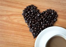 Concept of love with coffee beans. Royalty Free Stock Photo