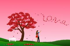 Concept of love with couple standing under the tree of heart and look to leaf fall,vector illustration for Valentine`s Day vector illustration