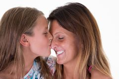 Concept love family people little daughter girl kiss mother beauty royalty free stock photography