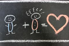 The concept of love, family. Two people in love are drawn with chalk on a black school Board. Valentine`s day. royalty free stock photo