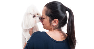 Concept of love with female and her dog Royalty Free Stock Images