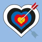 An arrow pierces a heart-shaped target show vector illustration