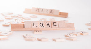 Concept: Love Hate Scrable Letters Stock Photo