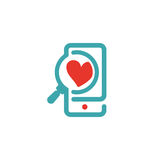 Concept of love and loupe glass on smartphone vector icon. Red heart symbol on smartphone touchscreen. Like icon and loupe glass. Zoomed heart sign on phone Royalty Free Stock Photos