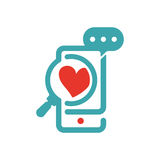 Concept of love and loupe glass on smartphone vector icon. Red heart symbol on smartphone touchscreen. Like icon and loupe glass. Zoomed heart sign on phone Stock Image