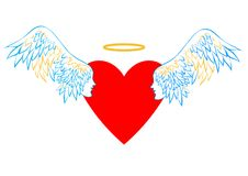 Heart with wings and a halo. Royalty Free Stock Photography