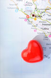 Concept love of Roma. With heart and Italian map Stock Photos