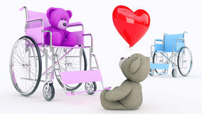 Concept of love. Two teddy bears in wheelchair with red heart Stock Image