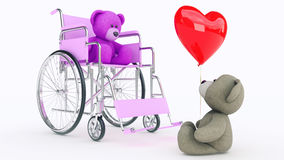 Concept of love. Two teddy bears in wheelchair with red heart Royalty Free Stock Photos