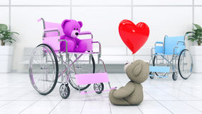 Concept of love. Two teddy bears in wheelchair with red heart Royalty Free Stock Images