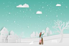 Concept of love in winter season,couple standing on snow with urban countryside landscape,vector illustration stock illustration