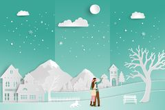 Concept of love in winter season and Valentine`s Day,couple romance with countryside landscape on soft green background. Paper art style,vector illustration Royalty Free Stock Photos